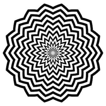 Fiori di linee circolari nere a zigzag con un bellissimo motivo a petali a strisce fantasia.