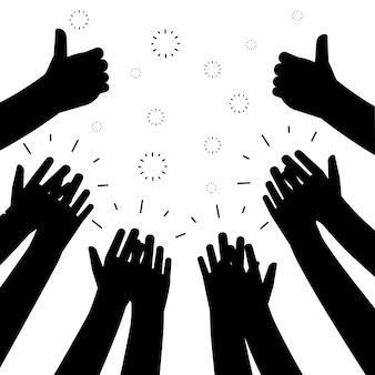 Siluette nere delle mani d'applauso su fondo bianco