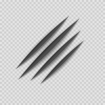Pista di graffio animale con artigli neri. gatto o tigre graffia la forma della zampa. traccia di quattro chiodi. illustrazione isolato su sfondo trasparente