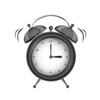 Allarme orologio nero isolato