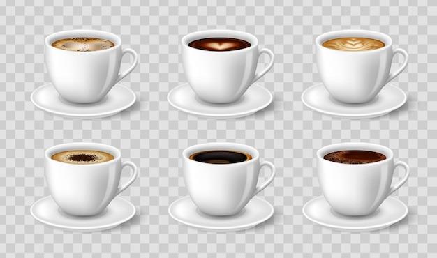 Vista laterale di caffè nero, cappuccino, latte, espresso, macchiatto, moka.