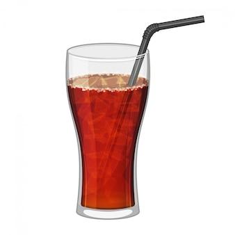 Vetro nero della cola su fondo bianco. simbolo di bevande fast food. coca rinfrescante. illustrazione di cartone animato