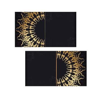Modello di brochure di colore nero con ornamento vintage in oro