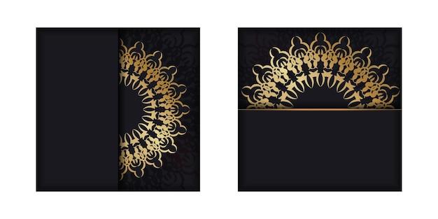 Modello di brochure di colore nero con motivo astratto dorato