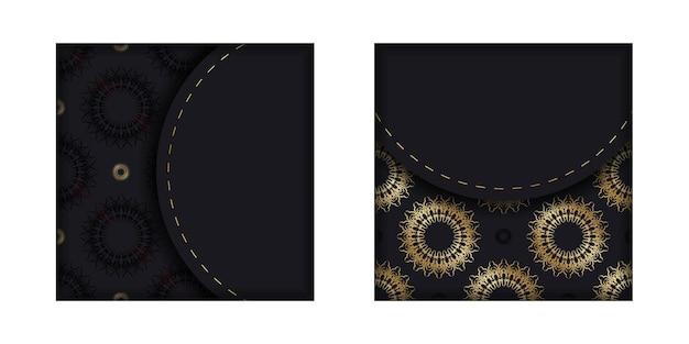 Modello di brochure di colore nero con ornamento greco dorato