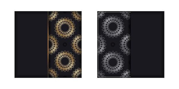 Modello di brochure di colore nero con motivo greco dorato
