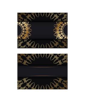 Modello di brochure di colore nero con ornamento di lusso dorato