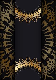 Modello di brochure di colore nero con motivo di lusso dorato