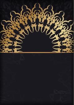 Modello di brochure di colore nero con ornamento vintage dorato