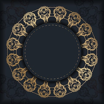 Modello di brochure di colore nero con ornamenti d'oro indiani per il tuo design.