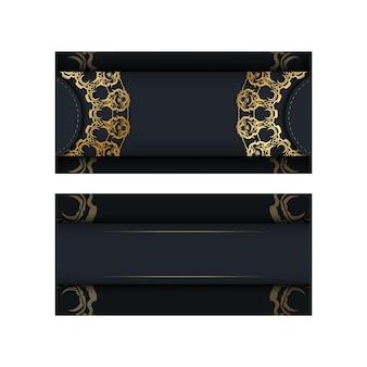Modello di brochure di colore nero con motivo dorato indiano per il tuo design.