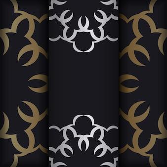 Brochure di colore nero con ornamenti di lusso in oro
