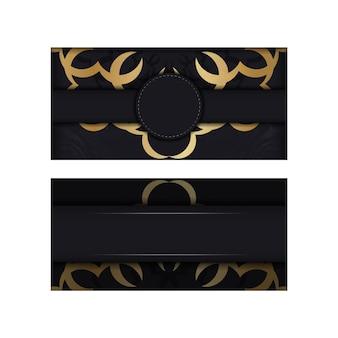 Brochure di colore nero con ornamento vintage in oro