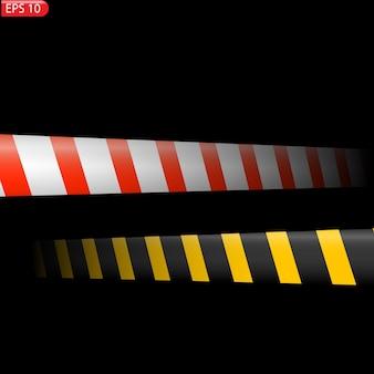 Linee di avvertenza in nero e colore isolate nastri di avvertenza realistici segnali di pericolo