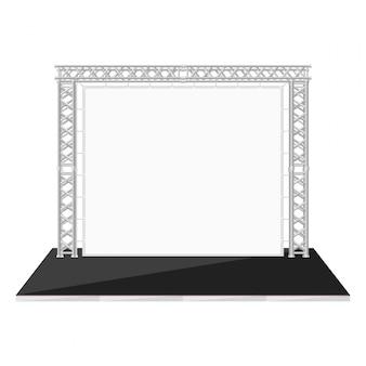 Tavolino basso stile piatto di colore nero con banner su capriata metallica