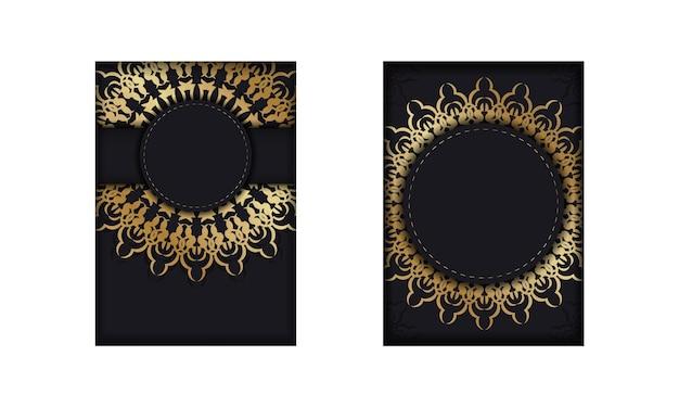 Modello di volantino di colore nero con motivo di lusso dorato