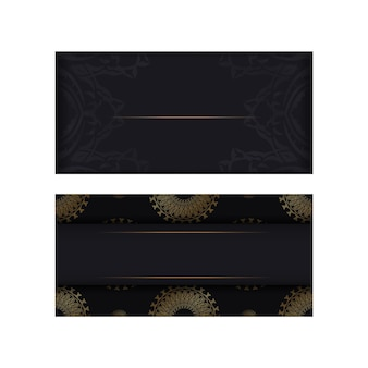 Modello di biglietto di auguri di colore nero con ornamento mandala oro