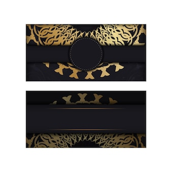 Modello di biglietto di auguri di colore nero con motivo mandala oro