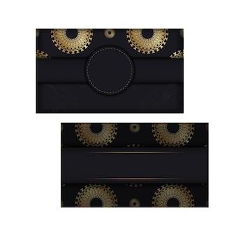 Modello di biglietto di auguri di colore nero con ornamento vintage dorato