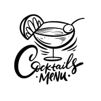 Frase scritta di colore nero menu cocktail calligrafia disegnata a mano