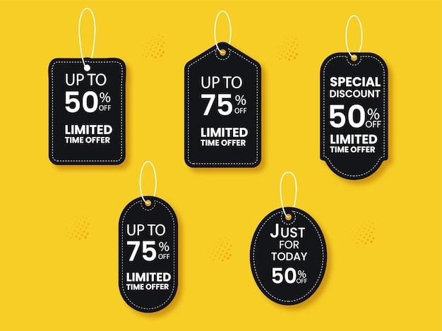 Collezione di tag di vendita di colore nero con diverse offerte di sconto su sfondo giallo.