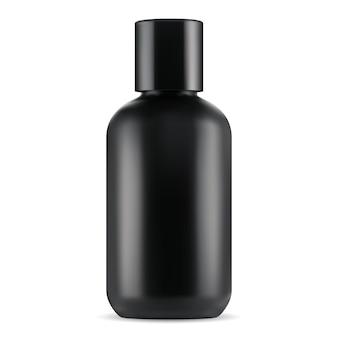 Flacone cosmetico nero. barattolo di lozione, gel o shampoo vuoto. contenitore in plastica per prodotto da bagno maschera per capelli. modello 3d di pacchetto di latte liquido, elegante e brillante