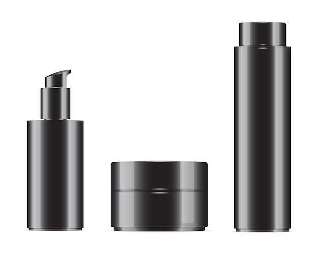 Set bottiglia cosmetica nera Vettore Premium