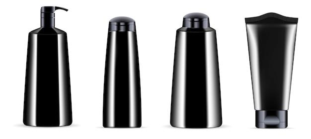 Vaso per bottiglia di cosmetici neri con tappi neri.