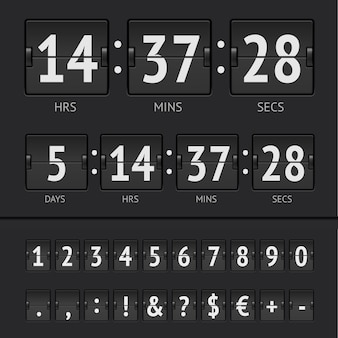 Timer conto alla rovescia e numeri del tabellone segnapunti neri
