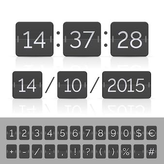 Timer conto alla rovescia e numeri del tabellone segnapunti neri.