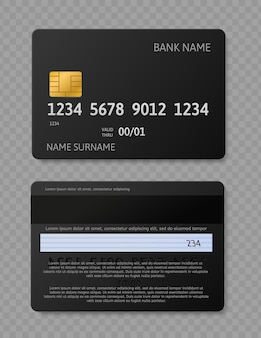 Carta di credito nera. carte realistiche con chip, mockup del lato anteriore e posteriore per transazione bancaria
