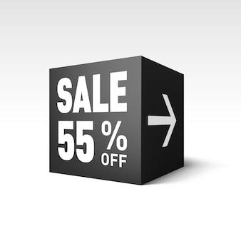 Modello di banner cubo nero per evento di vendita festiva. cinquantacinque per cento di sconto