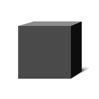 Cubo nero. scatola quadrata. illustrazione.
