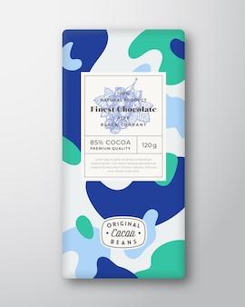 Forme astratte di etichette di cioccolato al ribes nero layout di progettazione di imballaggi vettoriali