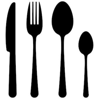 Posate nere piatto design semplice icon set isolato su sfondo bianco. stoviglie silhuette scure vista dall'alto - forme di cucchiaio, forchetta, coltello, cucchiaino da tè. illustrazione di simbolo di stoviglie di vettore.