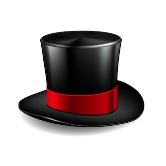Cappello a cilindro nero con nastro rosso. cappello magico su sfondo bianco.