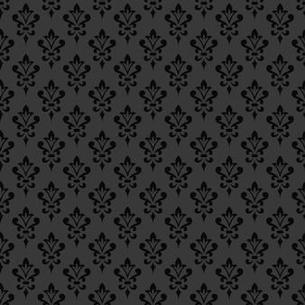 Carta da parati damascata nera. stile vittoriano. elegante ornamento vintage in colori monocromatici. modello senza soluzione di continuità.