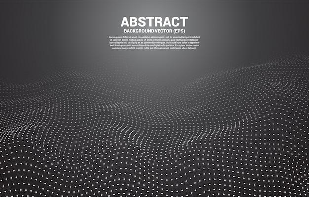 Punto e linea della curva del contorno digitale nero e onda con wireframe