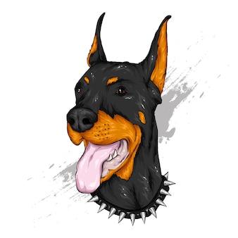 Doberman nero con la lingua fuori