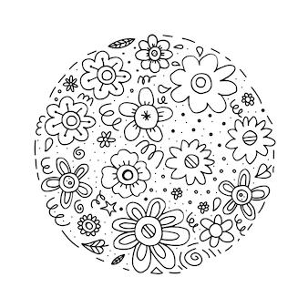 Fiori neri scarabocchiati a forma di cerchio su sfondo bianco