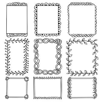 Cornici nere di doodle per bullet journal, taccuino, diario e pianificatore isolati su priorità bassa bianca