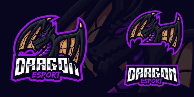 Modello di logo della mascotte di gioco del drago nero per lo streamer di esports facebook youtube