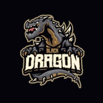 Logo della mascotte del drago nero per esport e squadra sportiva