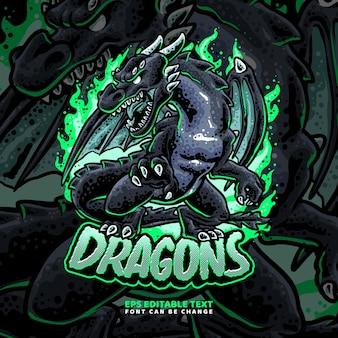 Modello di logo di draghi neri