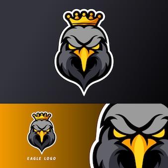 Modello di logo della mascotte di gioco di aquila reale re sport esport nero, adatto per squadra streamer