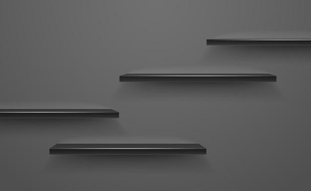 Scaffali vuoti neri sulla parete scura. illustrazione vettoriale