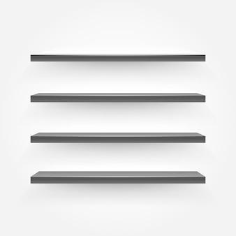 Scaffali vuoti neri sul muro. illustrazione