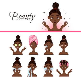 Personaggio femminile nero con diverse procedure cosmetiche per il viso. stile cartone animato. illustrazione.