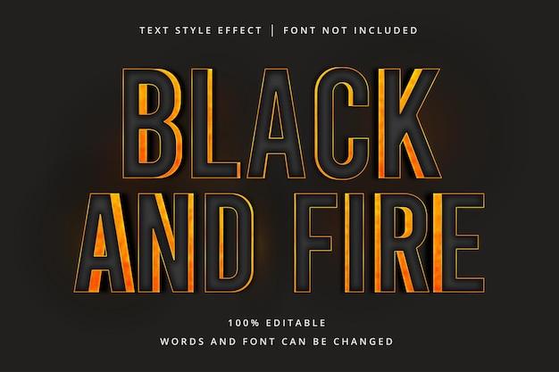 Effetto di testo modificabile nero e fuoco