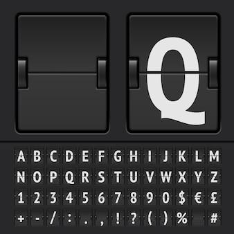 Alfabeto, numeri e simboli del tabellone segnapunti a fogli mobili neri.